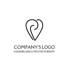 Logo - a heart with spirals - a symbol of vector