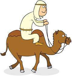 Man riding camel vector image