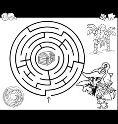 Maze with pirate coloring page vector