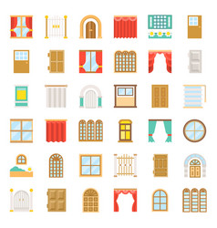 modern vintage door and window icon set flat vector image