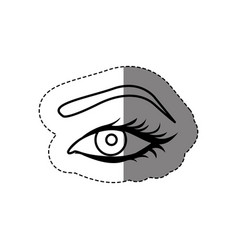 monochrome contour sticker with female eye and vector image