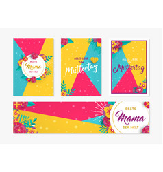 mother day paper card and label set in german vector image