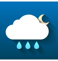 Night cloud moon and rain drops isolated on dark vector