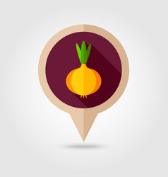 Onion flat pin map icon vegetable vector