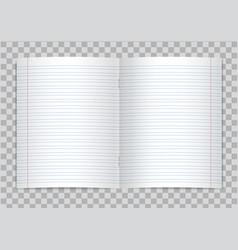 Opened realistic lined school copybook vector