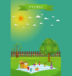 Outdoor picnic in garden vector