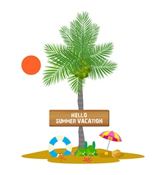 Palm with Banner for summer vacation vector