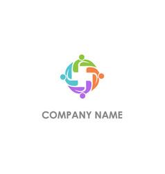 people circle abstract diversity logo vector image