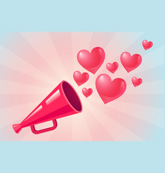 Pink megaphone on abstract background vector
