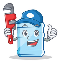 Plumber gallon character cartoon style vector