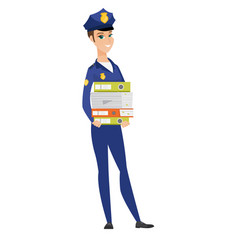 Police woman holding pile of folders vector