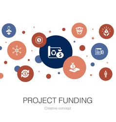 project funding trendy circle template with simple vector image