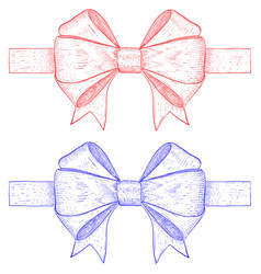 ribbon bows red and blue hand drawn sketch vector image