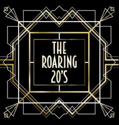 Roaring 20s luxury art deco frame background vector