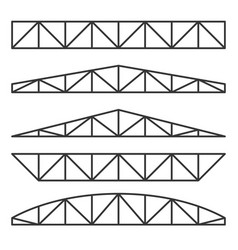 Roof metal trusses constructions set on white vector