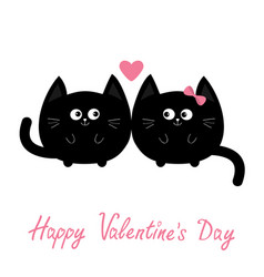Round shape black cat icon love family couple vector