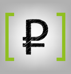 Ruble sign black scribble icon in citron vector