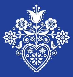 Scandinavian retro folk art floral design vector