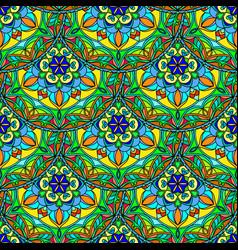 Seamless blue green floral mandala pattern vector