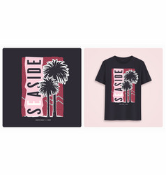 seaside stylish colorful graphic t-shirt design vector image