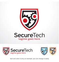Secure tech logo template design vector