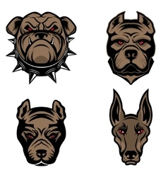 Set dogs heads isolated on white background vector