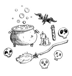 set of doodle elements for halloween holidays vector image