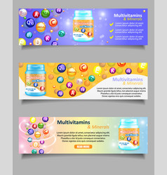 set of vitamin and mineral complex banners vector image