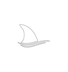shark dorsal fin flat icon vector image