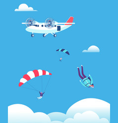 skydiving concept parachutists jumping out of vector image