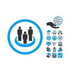 Social Group Flat Icon With Bonus vector image