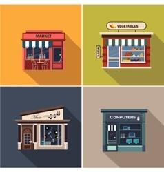 Stores and Shop Facades Flat vector