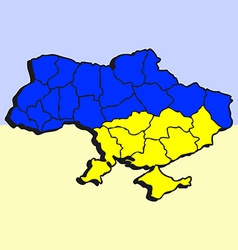 Stylized Map of Ukrain in Blue and Yellow Colors vector image