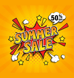 summer sale comic speech bubble vector image