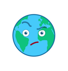 Suspecting world globe isolated emoticon vector