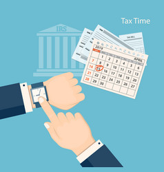 tax time with showing finger at the watch vector image