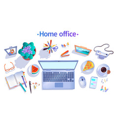 top view home office concept vector image