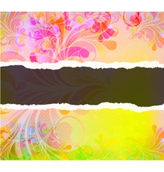 Torn cardboard with colorful swirls vector