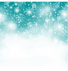 turquoise snowflake backgroundchristmas snowfall vector image