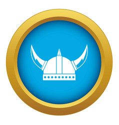 viking helmet icon blue isolated vector image