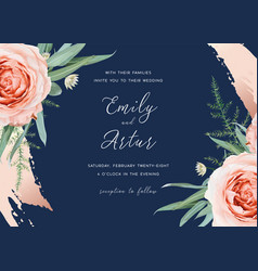 wedding invite save date card design blush rose vector image