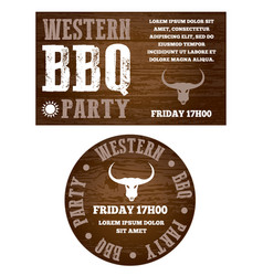 western bbq party invitation vector image
