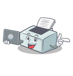 With laptop printer character cartoon style vector