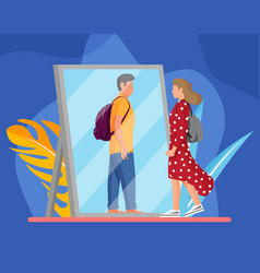Woman transgender looking in mirror and seeing man vector