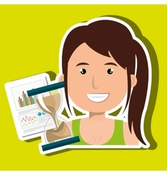 woman with hourglass and statistics isolated icon vector image