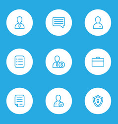work icons line style set with task list contract vector image