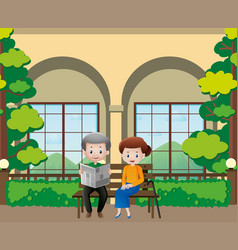 old people reading newspapers in the garden vector image