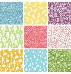 Set of nine kiddie things seamless patterns vector image