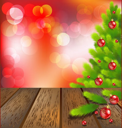 Wooden floor with Christmas tree on red bokeh vector image vector image