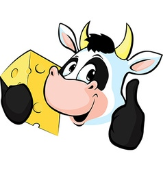 Cow hold Cheese - vector image vector image